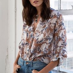 Floral Envelope Blouse ARRIVING MAY 19 2016. Floral envelope faux wrap blouse. Available in navy and mocha. This listing is for the MOCHA. Brand new. True to size. Model is wearing the size small. NO TRADES DON'T ASK. Bare Anthology Tops Blouses