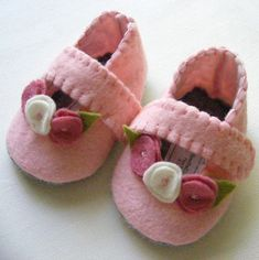 Pink and Rose Mary Jane Wool Felt Signature Style Felt Baby Booties
