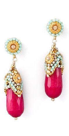 Miguel Ases Pink Jade & Crystal Drop Earrings