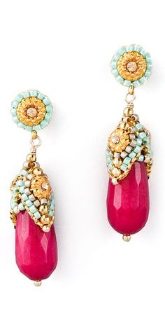 Miguel Ases Pink Jade & Crystal Drop Earrings.