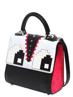 les petits joueurs - women - top handles - mini alex eyes embellished leather bag