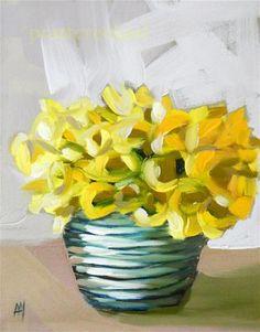 """daffodils in blue striped bowl"" - Original Fine Art for Sale - © Angela Moulton"