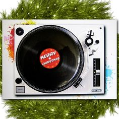 Turntable Christmas Card With Funky Vinyl Magnet