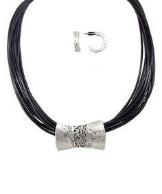 BRAND NAME LOLO BY DIMENSIONS OMGOSH! OMGOSH! OMGOSH! WOW!  ! LOVE.LOVE.LOVE.LOVE.LOVE.LOVE !  Go boho-chic with characteristic jewelry. This leather strand necklace is features a hammered metal plate and delicate huggie earrings for an artistic look.