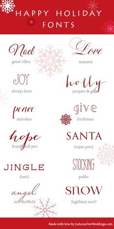 12 Holiday Fonts | JoAnna Dee Weddings #DIY #download #fonts