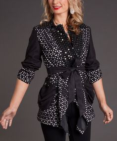 Take a look at this Black Geometric Tie-Waist Jacket on zulily today!