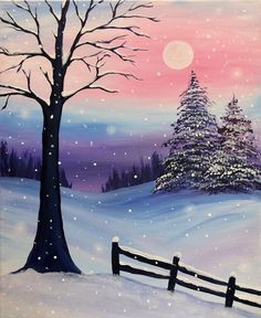 Christmas Art Projects For Kids Canvas Easy Canvas Painting, Winter Painting, Winter Art, Diy Painting, Painting & Drawing, Canvas Art, Canvas Paintings, Kids Canvas, Winter Sunset