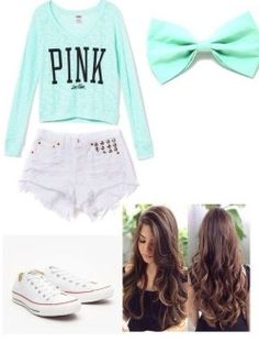 Cute<3 Blue VS Pink top, high waisted shorts, blue bow, amd whote converse