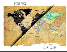 INKLUSIVE ZUBEHÖR UND KINDERLEICHTES ANBRINGEN - Geliefert wird die Karte in einer ebenso sehr schön designten Rolle! im Lieferumfang unseres Weltkarten Posters ist alles was Sie benötigen dabei! Durch die enthaltenen 3M Sticker ist das ankleben an jeder Oberfläche möglich! Auch ein Kratzwerkzeug und ein Mikrofasertuch sind enthalten! Watercolor Tattoo, Sticker, Tattoos, World Map Poster, Viajes, Cards, Nice Asses, Watercolor Tattoos, Irezumi