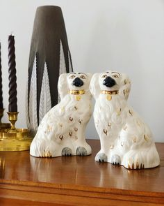 Large Beswick 1378-5 Staffordshire England dogs / wally dogs/ porcelain figurines /art nouveau art deco figurines / English dogs by WifinpoofVintage on Etsy Art Nouveau, Viking Decor, English Dogs, Staffordshire Dog, Scandinavian Folk Art, Votive Candle Holders, Close Up Photos, Chinoiserie, Make You Smile