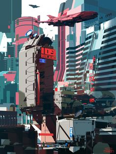 "sparth: "" Graphic City. personal work. 2014 just added it to my ArtStation, here: http://www.artstation.com/artist/sparth 140 artworks, and counting! """