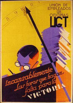 """Cartel de propaganda republicano. Texto: """"Lucha incansablemente las horas que hagan falta para la victoria."""" Unión de Empleados de Oficinas (UGT)"""