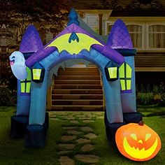 9 Feet Tall Giant Haunted House Archway Inflatable comes with extended cords, ground stakes, fastened ropes, built-in sandbags, and a plug with UL certification Bright built-in LED lights. Light up in the evening for the best attraction to neighbors and guests. Halloween Party Costumes, Halloween Night, Holidays Halloween, Christmas Inflatables, Halloween Inflatables, Haunted House Decorations, Outdoor Halloween, Event Decor, Trick Or Treat