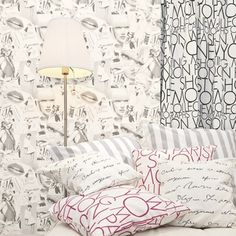 """We literally marvel at this collection of sparkling eclecticism and definitely trendy """"girly"""" thematic whose resonances seduce girls of today : Baroque arabesques, discreet dimples, magazine pages. Love Wallpaper, Arabesque, Girly, Fabric, Pattern, Inspiration, Collection, Inspired, Home Decor"""