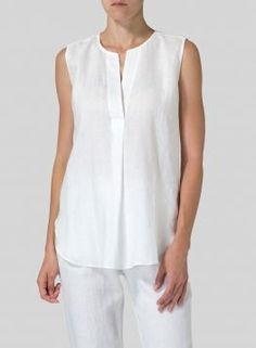 Linen Surplice V-Neck Blouse