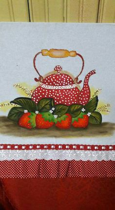 Dish Towels, Tea Towels, Sewing Projects, Projects To Try, Cartoon Cow, Button Crafts, Tole Painting, Kitchen Art, Rock Art