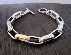 Mixed Metal Minimalist Chain Bracelet for Men and Women in Sterling Silver and Gold Bronze Handmade Jewelry Bracelets, Bracelets For Men, Link Bracelets, Sterling Silver Cross, Handmade Sterling Silver, Sterling Silver Bracelets, Mixed Metal Jewelry, Bronze, Mixed Metals
