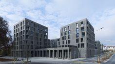 Rosengarten aus Naturstein - Wohnungsbau von Max Dudler in der Schweiz