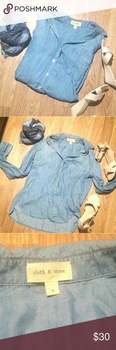 Cloth & Stone Chambray Denim Shirt Cloth & Stone Chambray Denim Shirt, super soft and NWOT (I found something similar in a better size for me). Size Small. Offers are welcome! Anthropologie Tops Button Down Shirts