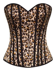 Leopard Corset Top in Black and Brown