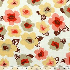 Coral and Mustard Mod Floral Cotton Jersey Knit Fabric