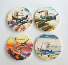 World War II Airplane Coasters-Our vintage World War II fighter airplanes designs look great on these ceramic coasters. Each set includes one of each: P-51 Mustang, P-38 Lightning, P-36 Hawk and B-17 Flying Fortress.   Great gift for the history buff or airplane enthusiast!