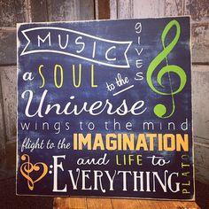 Inspirational Quote Music Gives a Soul Sign, Plato Quote Personalized Sign Plato Quotes, Good Music Quotes, Band Nerd, Music Painting, Canvas Quotes, Canvas Art, Nursery Signs, Personalized Signs, Quotable Quotes
