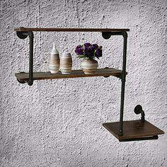 Pipe Shelving, Industrial Pipe Shelves, Rustic Industrial, Rustic Modern, Metal Pipe, Iron Pipe, Bookshelf Diy, Bookshelves, Café Interior