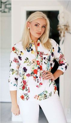 Check out this tops/blouse at our store. This multicolor V Neck Floral Print Tops good for casual or even office use. Floral Maxi, Floral Blouse, Floral Tops, Floral Fashion, Floral Style, Plus Size Women, Vintage Dresses, Boho Chic, Casual Dresses