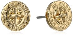 Marc Jacobs Oro Turn Lock Stud Earrings. Disc-shape studs in polished finish featuring round logo engraving and turn-lock center;Post and bullet clutch with disc backing;Imported. MARC BY MARC JACOBS WOMENS JEWELRY. Imported.