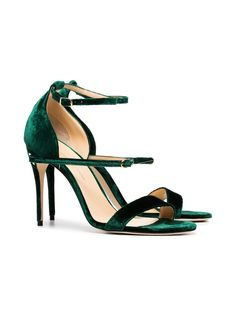 e47ae330f2de57 Jennifer Chamandi Emerald Green Rolando 105 Velvet Sandals. Designer SandalsGorgeous  HeelsEmerald GreenVelvetFlatsGoldShoesLoafers ...