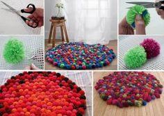 Cómo hacer una alfombra casera con pompones de lana realizando manualidades para niños
