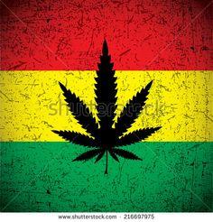Cannabis leaf on grunge rastafarian flag. Vector illustration - stock vector
