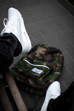 Nike Air Max 90 White Hyperfuse and Camo print Herschel Backpack. #fashion #sneakers