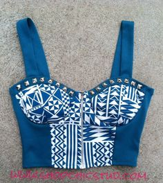 Studded Bustier Top  Tribal Print Silver Studs Blue Teal Corset