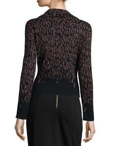 Long-Sleeve Ombre Leopard-Print Jacket