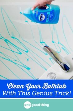 This weird bathtub cleaning method works wonders! Find out how a broom and bit of dish soap can leave your tub cleaner than ever, and with less effort! #cleaning #tipsandtricks