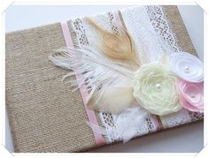 Etsy Burlap Wedding Guest Book | Burlap Wedding Guest Book Embellished with by ModernShabby on Etsy, $ ...