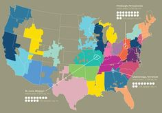 Map of the United States defined by how people communicate. Study done by Senseable cities lab with MIT and AT