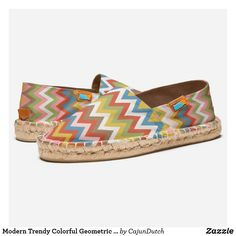 Modern Trendy Colorful Geometric Zigzag Pattern Espadrilles
