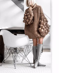 You and I Long Lantern Sleeve Chunky Texture Oversized Pattern Mock Neck Pullover Sweater - 4 Colors Available - Sold Out Knitwear Fashion, Knit Fashion, Look Fashion, Winter Fashion, Fashion Outfits, Womens Fashion, Knitting Designs, Knitting Patterns, Crochet Patterns