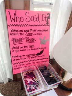 bachlorette party ideas Who Said It bridal shower game idea. See more fun bridal shower games and party ideas at Fun Bridal Shower Games, Disney Bridal Showers, Bridal Games, Bridal Shower Party, Couple Shower Games, Couples Wedding Shower Games, Lingerie Shower Games, Bridal Shower Questions, Bridal Shower Prizes