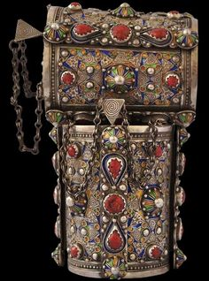 Pair of Silver Anklets with Coral & Enamel Berber people, Great Kabylia, Algeria circa 1920