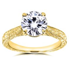 Antique Forever One Moissanite And Diamond Engagement Ring 1 1/2 CTW In 14k Yellow Gold