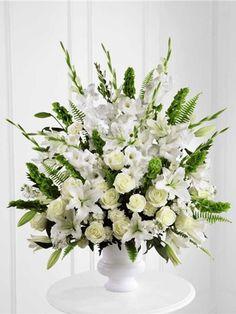 White funeral basket with white flowers. Morning Stars Arrangement Premium S2-4438P