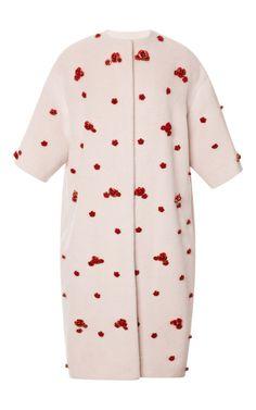 Rose Embellished Wrap Midi Coat by Esme Vie for Preorder on Moda Operandi