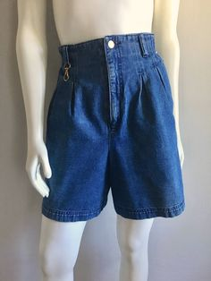 Vintage Women's 80's Jean Shorts, High Waisted, Dark Wash, Denim by Carol Little (L) by Freshandswanky on Etsy