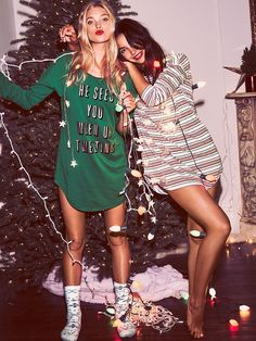 Elsa Hosk and Lily Aldridge in pajama style for Victoria's Secret