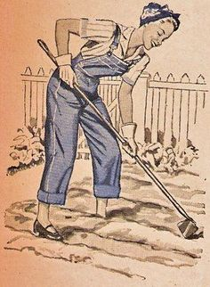 note to self: find some thrift store overalls (that fit and make me look like a victory garden babe) Vintage Gardening, Organic Gardening, Gardening Tips, Rack Bike, Land Girls, Famous Gardens, Morning Cartoon, Garden Illustration, Victory Garden