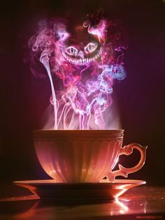 Cheshire Cat appearing in tea smoke Alice in wonderland irl in real life New Wallpaper, Iphone Wallpaper, Desktop Wallpapers, Halloween Wallpaper Iphone, Wallpaper Ideas, Disney Wallpaper, We All Mad Here, Chesire Cat, Cheshire Cat Tattoo